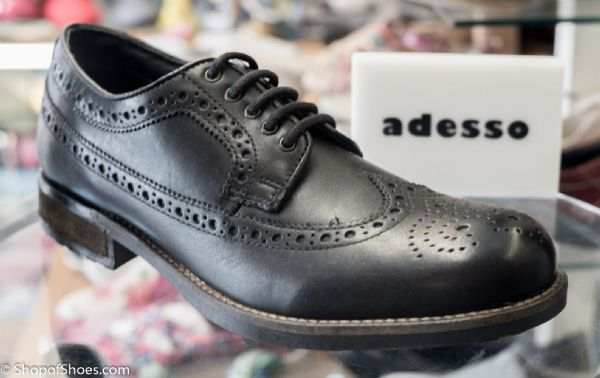 Leather Brogue in black with comfort footbed and flexible deep tread rubber sole.